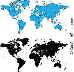 dettagliato, mappe mondo, vettore