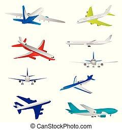 dettagliato, modelli, differente, jet, aeroplani, volare, airliners, overview, piani, angles.