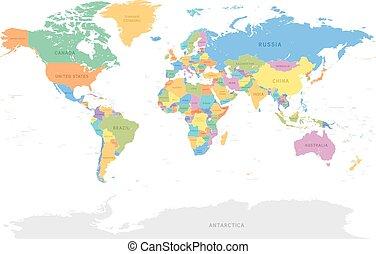 dettagliato, mondo, vettore, mappa