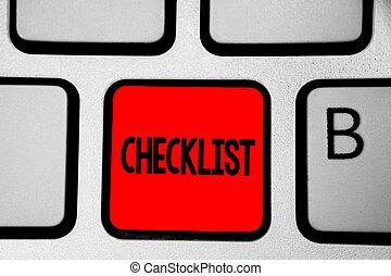 dettagliato, nota, guida, checklist., riflessione, affari, calcolare, foto, creare, attività, elenco, scrittura giù, intention, computer, document., qualcosa, tastiera, showcasing, esposizione, rosso