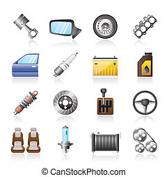 dettagliato, parti macchina, icone