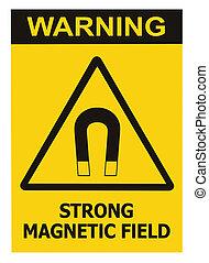 dettagliato, pericolo, testo, magnetico, segno giallo, avvertimento, attenzione, adesivo, concetto, isolato, campo, sicurezza, nero, adesivo, avviso, triangolo, rischio, verticale, attenzione, azzardo, etichetta, forte, macro, grande, icona, closeup