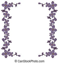 dettagliato, realistico, cornice, fiori, lilla