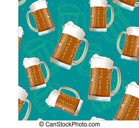 dettagliato, realistico, modello, birra, seamless, fondo., tazza, vettore, 3d