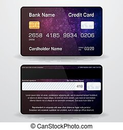 dettagliato, realistico, vettore, card., credito