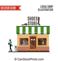 dettagliato, scarpe piatte, disegno, negozio, icona