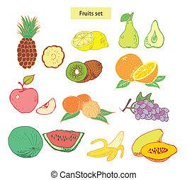 dettagliato, set, illustrazione, frutte