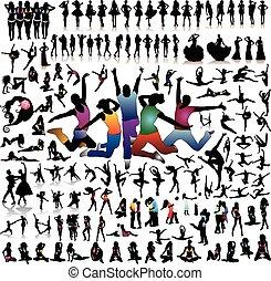 dettagliato, set, persone, molto, silhouette, vettore, 100