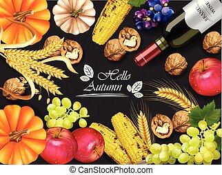 dettagliato, sfondi, granaglie, realistic., zucca, 3d, raccogliere, scuro, autunno, vettore, vino, grapes., uva, noci, scheda, design.