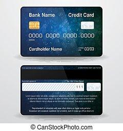 dettagliato, side., card., realistico, simbolo, indietro, soldi, credito, vettore, fronte, pagamento