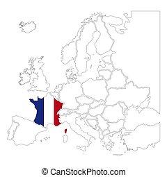 dettagliato, silhouette, bianco, contorno, nazionale, francia, europa, mappa, bandiera