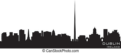 dettagliato, silhouette, vettore, dublin, irlanda, skyline.