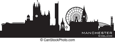 dettagliato, skyline., inghilterra, silhouette, manchester
