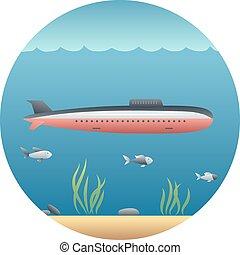 dettagliato, sottomarino, illustrazione