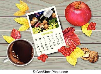 dettagliato, tazza caffè, mela, progetta, realistic., leaves., pagina, autunno, vettore, cadere, calendario, 3d, noci, vista superiore