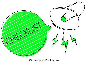 dettagliato, testo, idea, segno, giù, qualcosa, fuori, altoparlante, foto, concettuale, megafono, speech., grunge, esposizione, grida, checklist., elenco, guida, attività, forte, grido, discorso