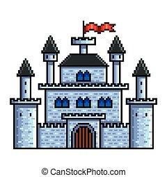 dettagliato, vecchio, isolato, illustrazione, vettore, castello, pixel