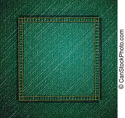 dettagliato, verde, vettore, jeans, texture.