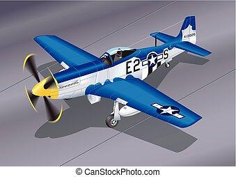 dettagliato, vettore, aereo combattente, illustrazione, p-51, 2, mustang, 'easy, sugar'