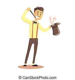 dettagliato, vettore, cima colorita, circo, attore, o, strada, illustrazione, presa a terra, coniglio, cappello, cartone animato, mago