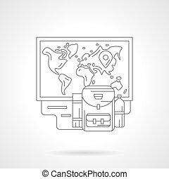 dettagliato, vettore, illustrazione, pianificazione, linea, viaggio