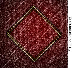 dettagliato, vettore, jeans, texture., rosso