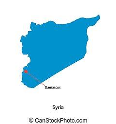 dettagliato, vettore, mappa, di, siria, e, città capitale,...