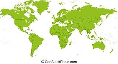 dettagliato, vettore, mappa mondo