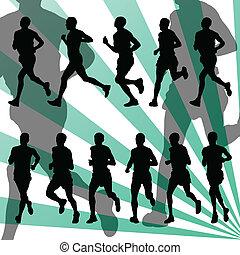 dettagliato, vettore, maratona, fondo, attivo, corridori