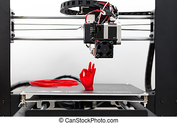 dettaglio, 3d, stampante, rosso, filamento, stampa