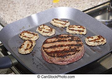 dettaglio, di, arrostito, hamburger