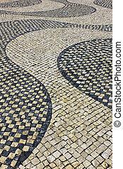 dettaglio, di, uno, tipico, portoghese, marciapiede, a, lisbona, portogallo