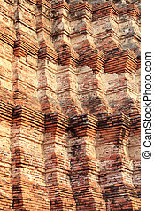dettaglio, di, vecchio, pagoda, ayutthaya, tailandia