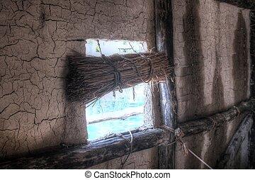 dettaglio, di, vecchio, struttura finestra