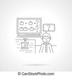 dettaglio, lezione, icona, vettore, aritmetica, linea