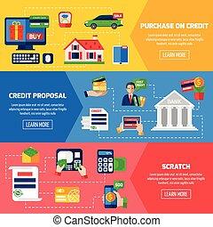 dette, bannières, horizontal, prêt