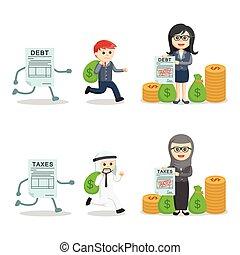 dette, ensemble, impôts, professionnels