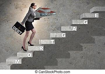 dette, femme affaires, financement, concept, hypothèque