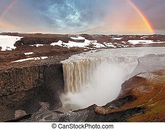 dettifoss, islande, chute eau, -