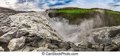 dettifoss, panoráma, vízesés, izland