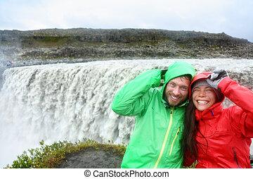 dettifoss, vízesés, izland, utazás, móka, párosít