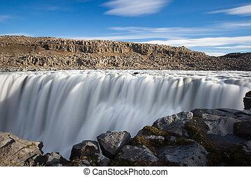 dettifoss, waterfall., autunno, viaggiare, in, islanda