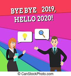 detto, foto, segno, un altro, anno, consoci, 2019, testo, concettuale, ciao, buono, affari, cercando, esposizione, jointly, dare benvenuto, uno, generare, colleghi, ultimo, soluzione, idea., arrivederci, problema, 2020., ciao