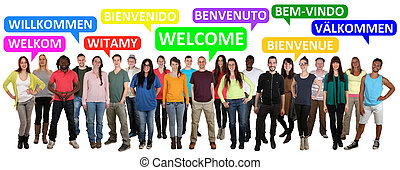 detto, multi, gruppo, persone, benvenuto, giovane, etnico, sorridente