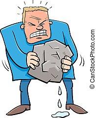 detto, pietra, umore, acqua, spremere, cartone animato