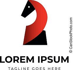 deuce, caballo, identidad, logotipo, papel, negro, forma, ...
