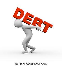 deuda, 3d, elevación, hombre