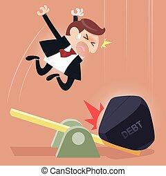 deuda, hombre de negocios, escala, carga, entre