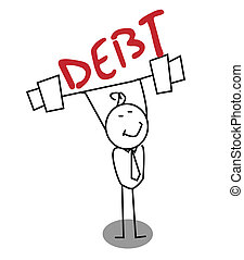 deuda, hombre de negocios, fuerte