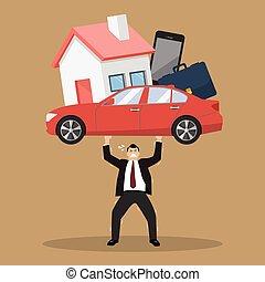 deuda, hombre de negocios, proceso de llevar, carga
